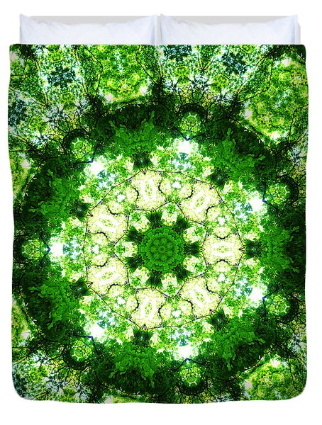 Duvet Cover featuring the digital art Emerald Lace by Shawna Rowe