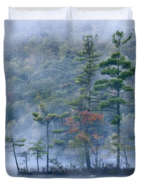 Emerald Lake In Fog Emerald Lake State Duvet Cover