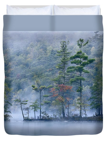 Duvet Cover featuring the photograph Emerald Lake In Fog Emerald Lake State by Tim Fitzharris