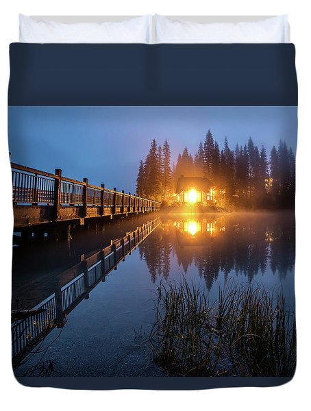 Duvet Cover featuring the photograph Emerald Lake Lodge In The Twilight Fog by Pierre Leclerc Photography