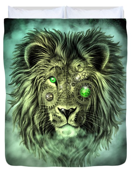 Emerald Steampunk Lion King Duvet Cover