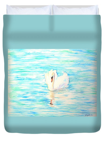 Emerald Swan Duvet Cover by Elizabeth Lock