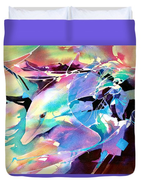 Duvet Cover featuring the painting Emergence by Rae Andrews