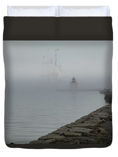 Duvet Cover featuring the photograph Emerging From The Fog by Jeff Folger