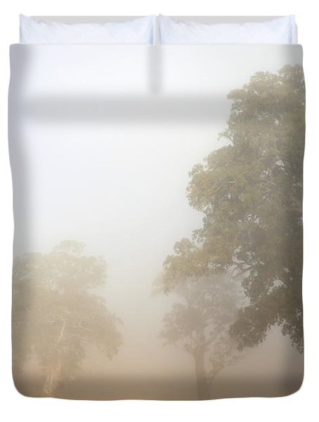 Emerging From The Fog Duvet Cover by Mike  Dawson
