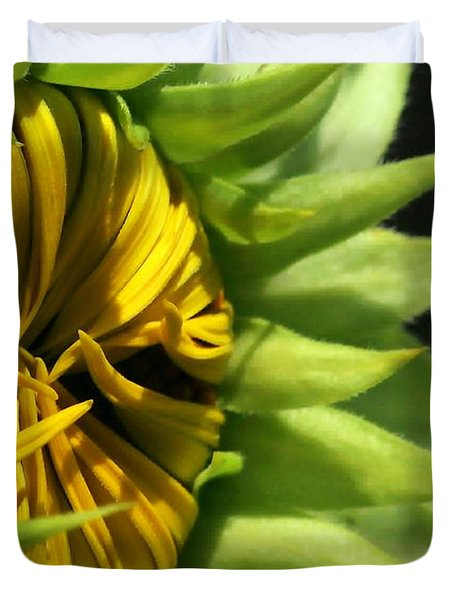 Emerging Sunflower Duvet Cover by Sabrina L Ryan