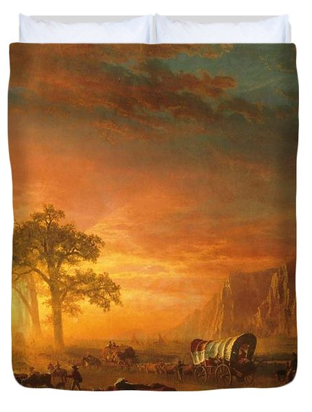 Duvet Cover featuring the photograph Emigrants Crossing The Plains - 1867 by Albert Bierstadt
