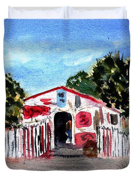Duvet Cover featuring the painting Emiles Road Side Grocer by Donna Walsh