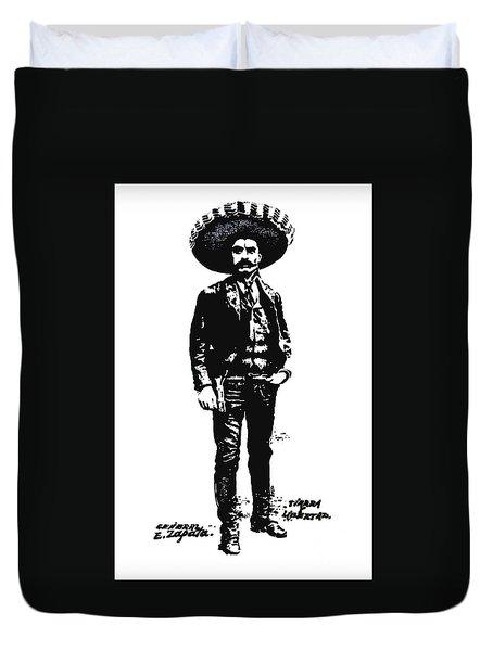 Duvet Cover featuring the drawing Emiliano Zapata by Antonio Romero