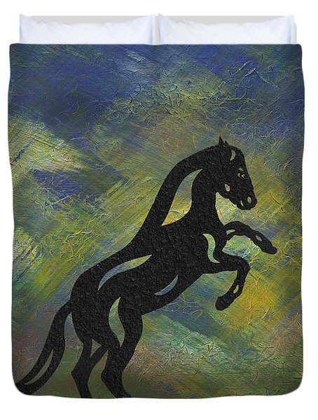 Duvet Cover featuring the painting Emma II - Abstract Horse by Manuel Sueess