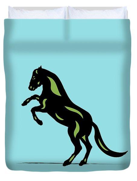 Emma - Pop Art Horse - Black, Greenery, Island Paradise Blue Duvet Cover