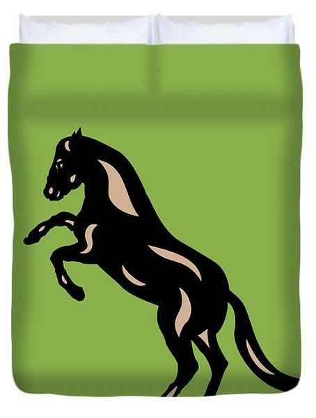 Emma - Pop Art Horse - Black, Hazelnut, Greenery Duvet Cover