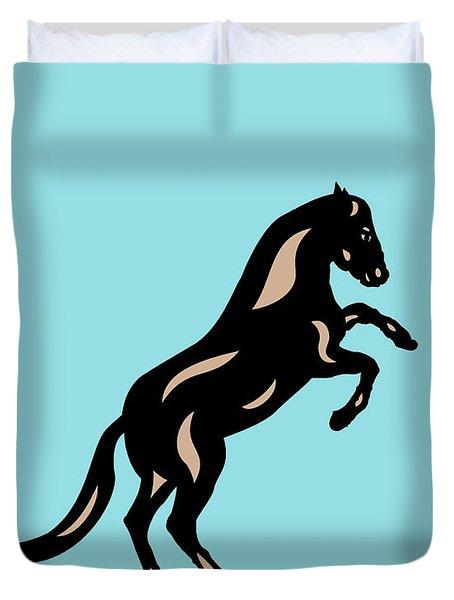 Emma II - Pop Art Horse - Black, Hazelnut, Island Paradise Blue Duvet Cover