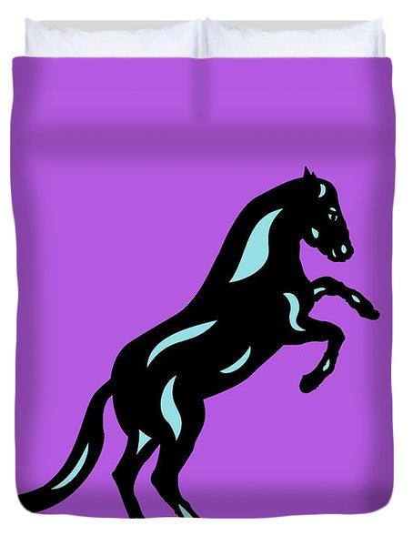 Emma II - Pop Art Horse - Black, Island Paradise Blue, Purple Duvet Cover
