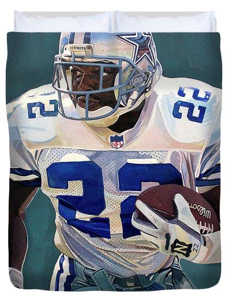 Emmitt Smith - Dallas Cowboys Duvet Cover by Michael  Pattison