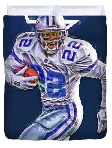 Emmitt Smith Dallas Cowboys Oil Art Duvet Cover