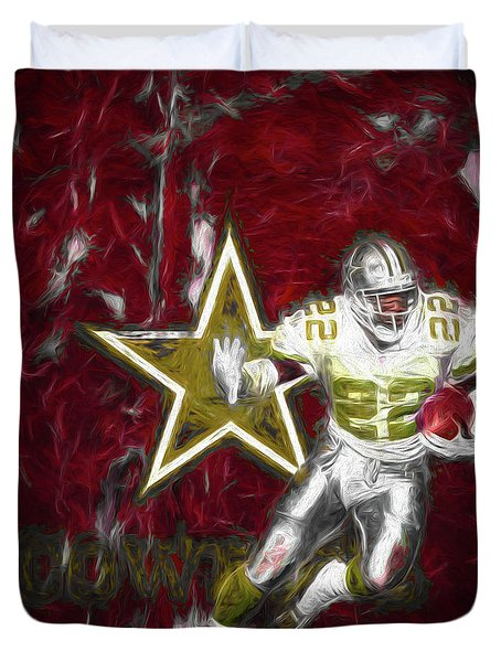 Emmitt Smith Nfl Dallas Cowboys Gold Digital Painting 22 Duvet Cover by David Haskett