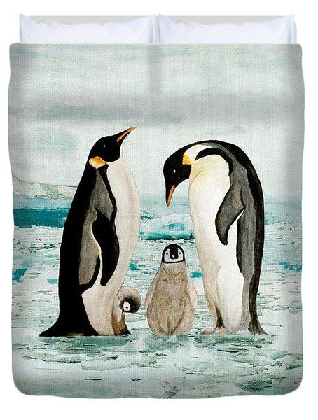 Emperor Penguin Family Duvet Cover