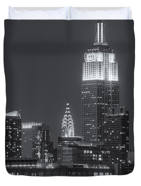 Empire State And Chrysler Buildings At Twilight II Duvet Cover