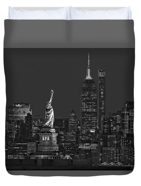 Duvet Cover featuring the photograph Empire State And Statue Of Liberty II Bw by Susan Candelario