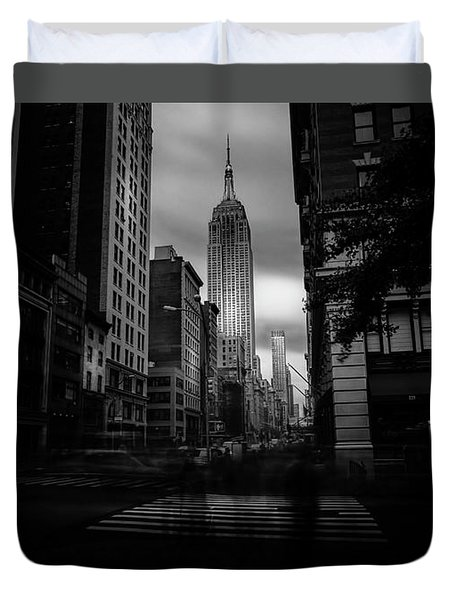 Duvet Cover featuring the photograph Empire State Building Bw by Marvin Spates