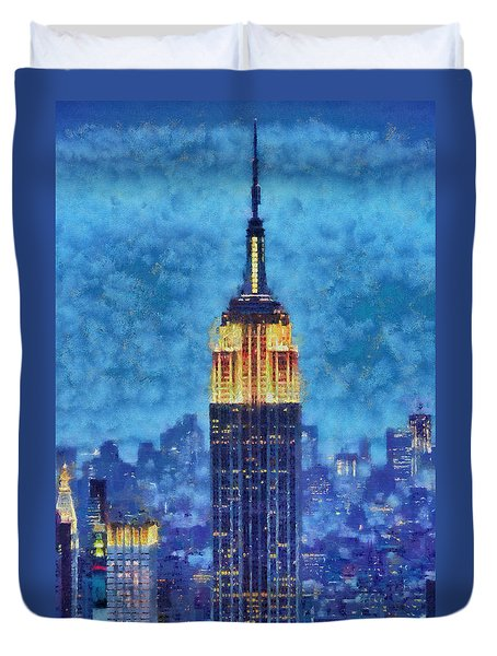 Duvet Cover featuring the painting Empire State Building By Night by Kai Saarto