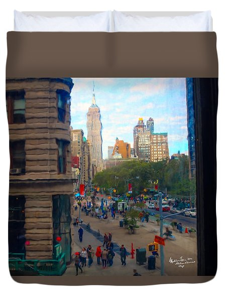 Duvet Cover featuring the photograph Empire State Building - Crackled View 2 by Madeline Ellis