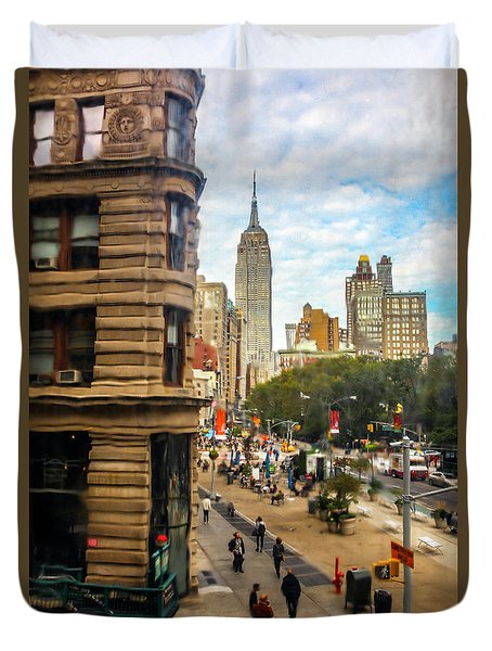 Duvet Cover featuring the photograph Empire State Building - Crackled View 3 by Madeline Ellis