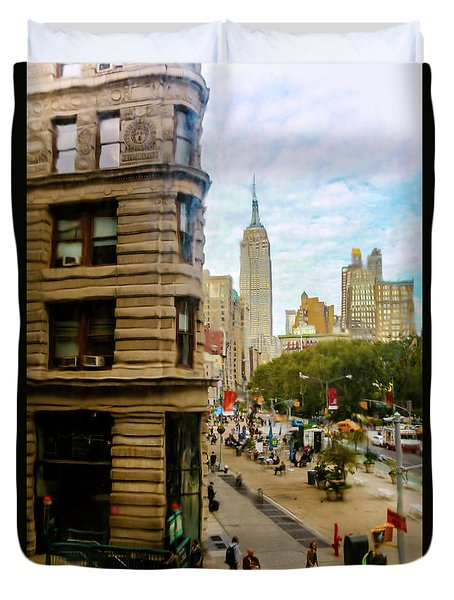 Duvet Cover featuring the photograph Empire State Building - Crackled View by Madeline Ellis