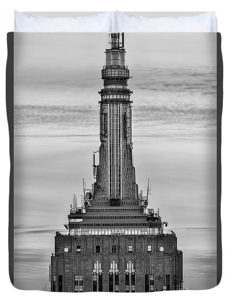 Empire State Building Esb Broadcasting Nyc Bw Duvet Cover by Susan Candelario