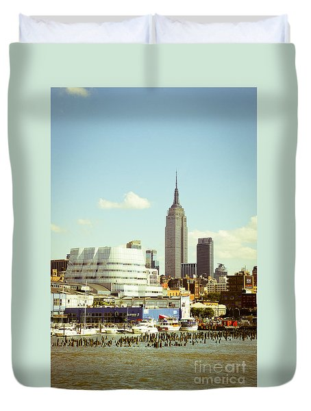 Empire State Building From Hudson Duvet Cover