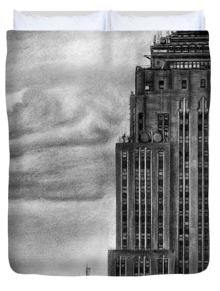 Empire State Building New York Pencil Drawing Duvet Cover