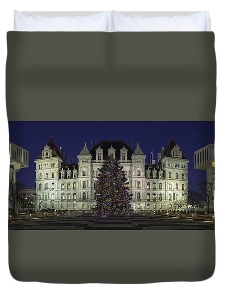 Empire State Plaza Holiday Duvet Cover