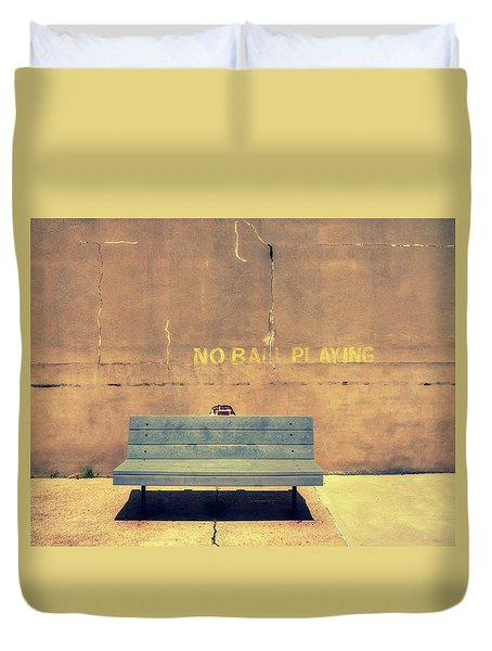 Empty Bench And Warning Duvet Cover