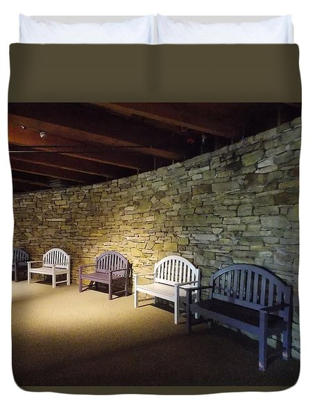 Empty Benches Along A Curved Stone Wall Duvet Cover