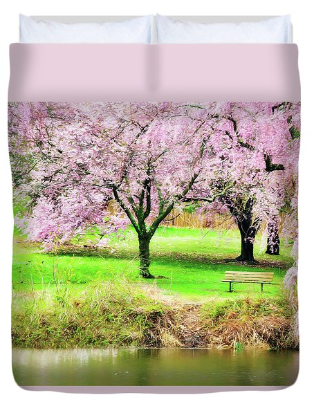Duvet Cover featuring the photograph Empty Bench Surrounded By Spring Colors by Gary Slawsky