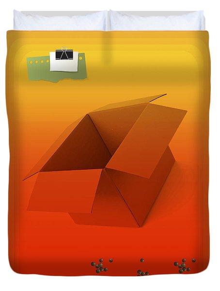 Outside Empty Box Duvet Cover by Moustafa Al Hatter