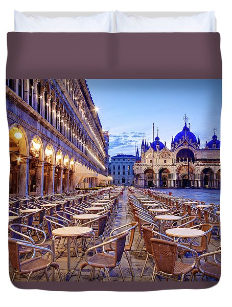 Duvet Cover featuring the photograph Empty Cafe On Piazza San Marco - Venice by Barry O Carroll
