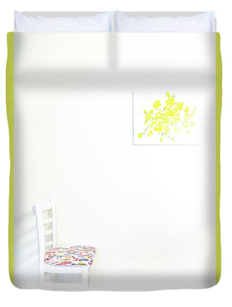 Empty Chair With Yellow Roses Duvet Cover