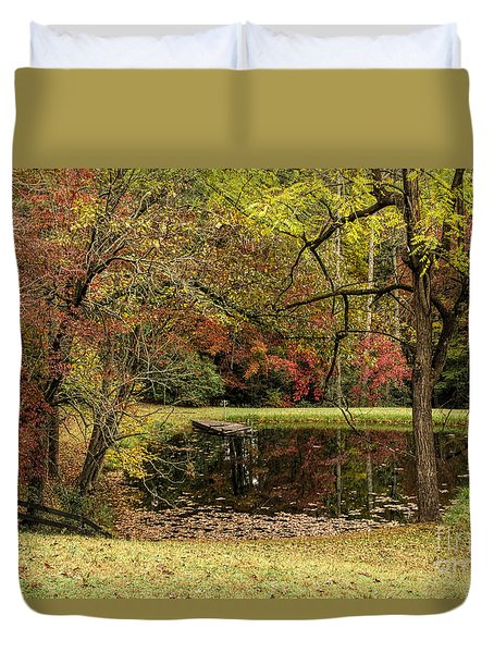 Duvet Cover featuring the photograph Empty Dock by Barbara Bowen