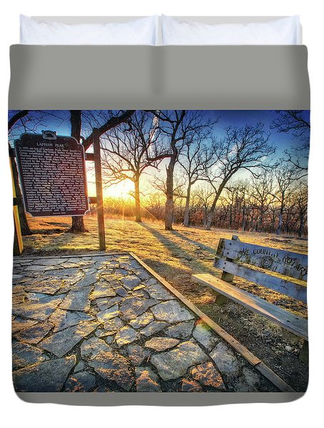 Duvet Cover featuring the photograph Empty Park Bench - Sunset At Lapham Peak by Jennifer Rondinelli Reilly - Fine Art Photography