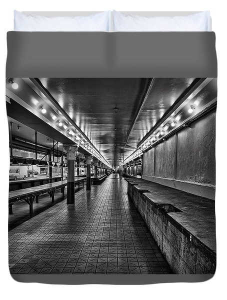 Empty Pike Place Market In Seattle Duvet Cover