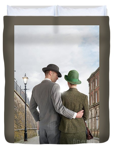 Empty Street With Victorian Buildings Duvet Cover