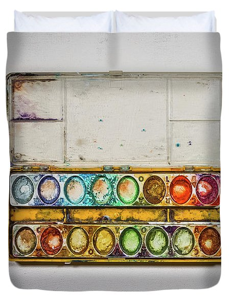 Empty Watercolor Paint Trays Duvet Cover