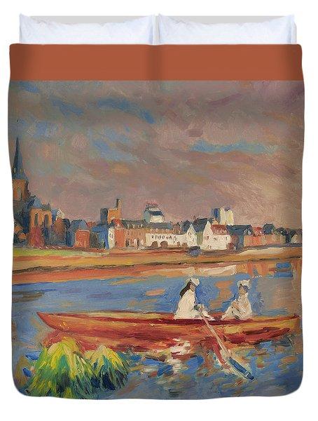 En Bateau De Renoir Sur La Meuse A Maestricht Duvet Cover by Nop Briex