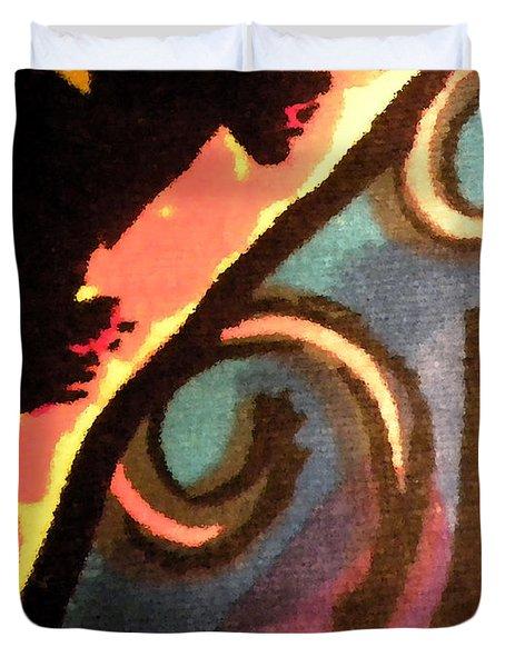 Duvet Cover featuring the mixed media En Joy Ll by Sandi OReilly