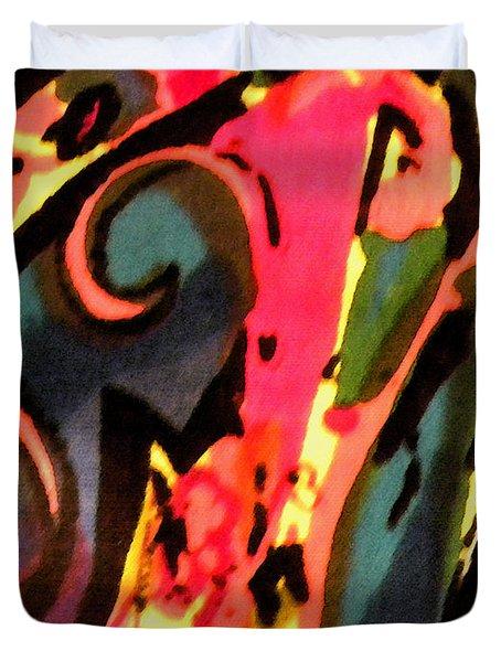 Duvet Cover featuring the mixed media En Joy by Sandi OReilly