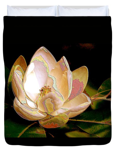 Enamel Magnolia In Bronze Duvet Cover