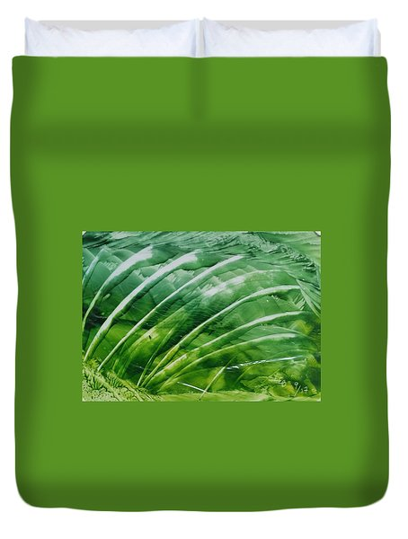 Encaustic Abstract Green Fan Foliage Duvet Cover