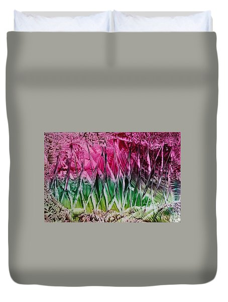 Encaustic Abstract Pinks Greens Duvet Cover